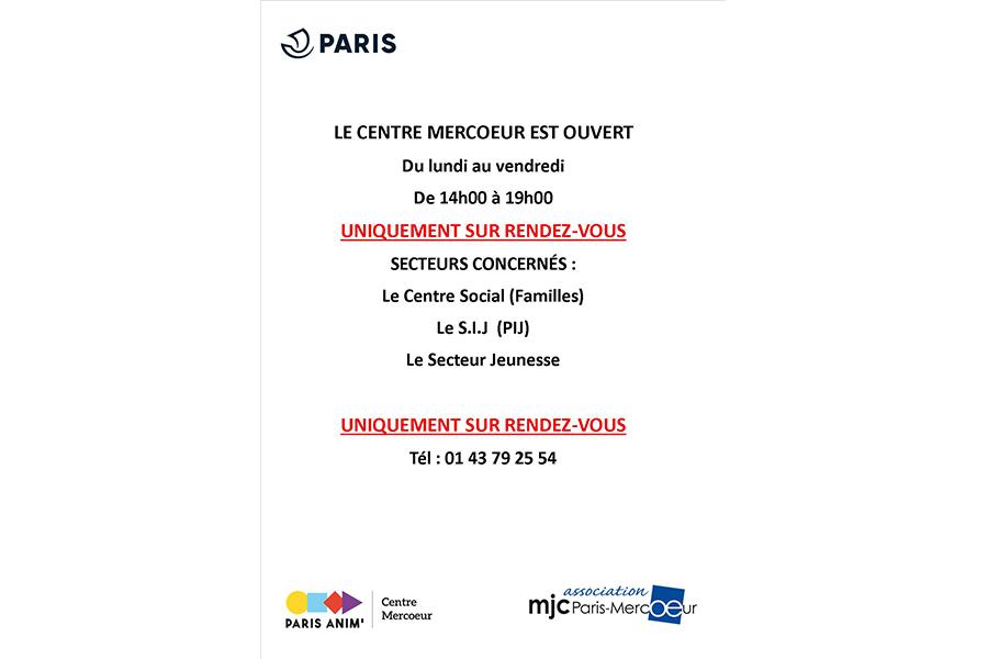 Réouverture sur rdv, du centre social, du PIJ, du secteur jeunes et du secteur familles, du lundi au vendredi de 14h00 à 19h00