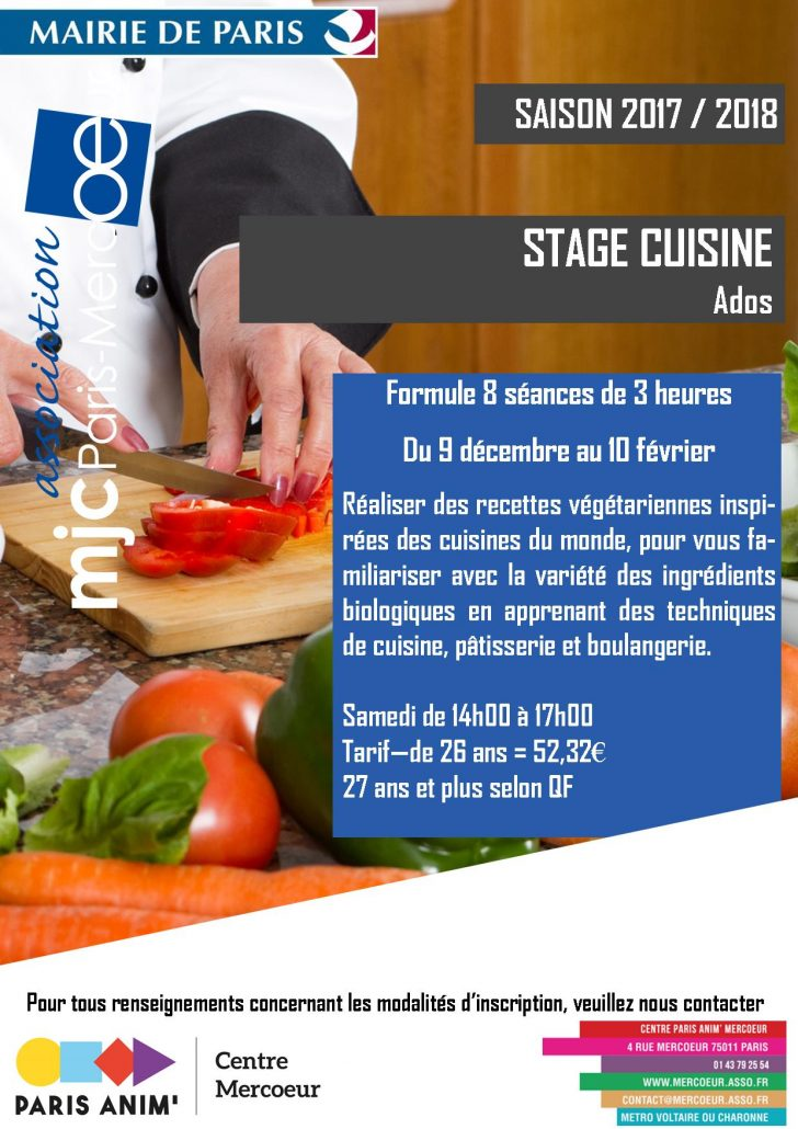 STAGE CUISINE ADOS A